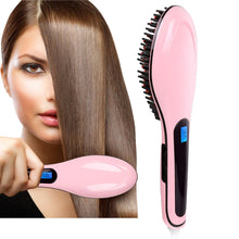 Load image into Gallery viewer, Fast Hair Straightener Brush LCD Ion Anti-Scald Comb Auto Massager Pink