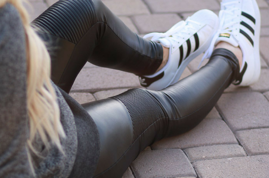 Maternity Faux Leather Leggings & Sneakers