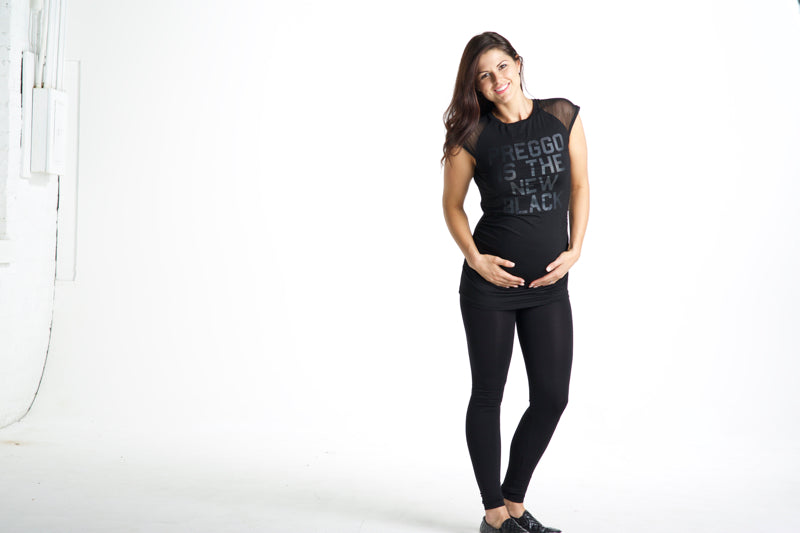 Preggo Leggings Preggo Is The New Black Short Sleeve Mesh Top - Black on Black