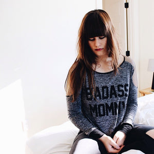 Lifestyle Shot of Badass Mommy Mesh Insert Maternity Sweatshirt