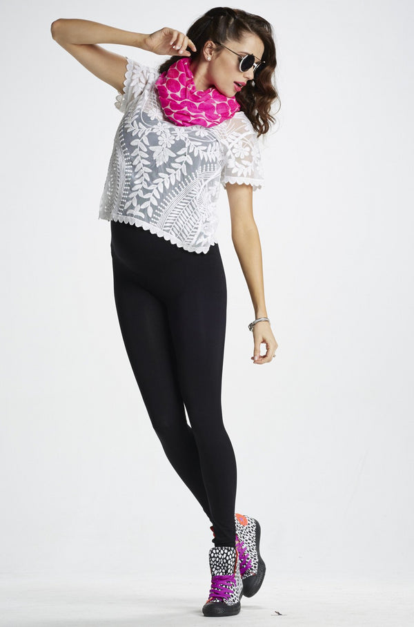 Lifestyle Shot of Mom's Night Out Black Maternity Leggings