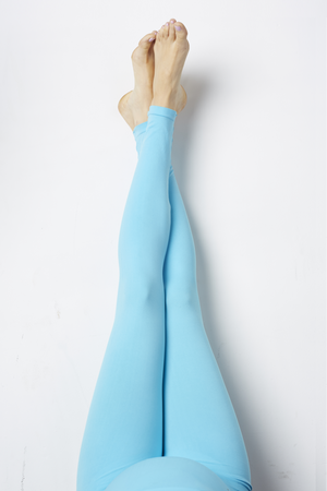 Overhead leg Lifestyle Shot of Oh Baby Blues Blue Maternity Leggings