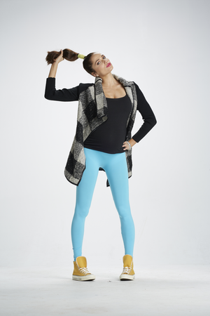 Lifestyle Shot of Oh Baby Blues Blue Maternity Leggings