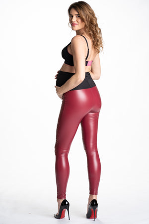 Back shot of Popstar Mamacita Red Faux Leather Maternity Moto Leggings