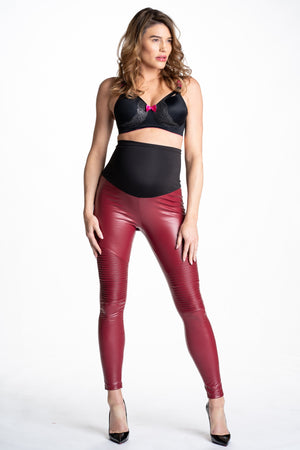 Popstar Mamacita Red Faux Leather Maternity Moto Leggings