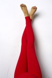 Red Maternity Preggo Leggings - Leg View