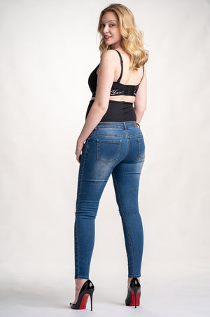 Back shot of Preggo Leggings Tribeca Maternity Jeans on white background