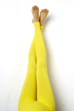 Yellow Maternity Preggo Leggings - Leg View