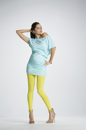 Lifestyle Shot of Color Me Sunshine Yellow Maternity Leggings