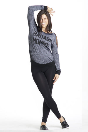 Front Shot of Badass Mommy Mesh Insert Maternity Sweatshirt