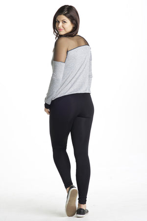 Back Shot of Mamas With Attitude䋢 Mesh Insert Heather Grey Maternity Sweatshirt