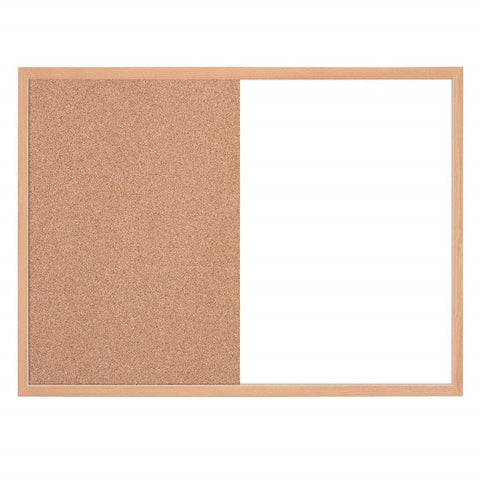 Provizon Combination board Magnetic Whiteboard & Corkboard, Combo White Board & Cork Board, Wooden Frame for Office, Home