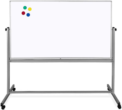 Magnetic dry-erase Mobile Whiteboard, 4x3ft and 360 Revolving  Stand with wheels for Office/School