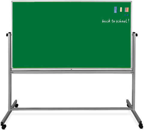 Magnetic dry-erase Mobile Chalkboard 4x3ft and 360 Revolving stand with wheels for Office/School