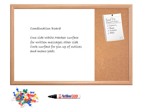 Fabric Notice Bulletin boards and White Non Magnetic Wooden frame Combination Board