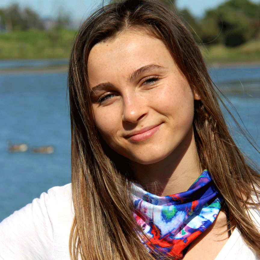 Summer scarf face cover blue and red