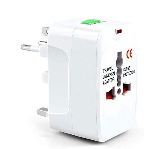 Universal Travel Adapter with Built in Dual USB Charger Ports Surge Spike Protected Electrical Plug