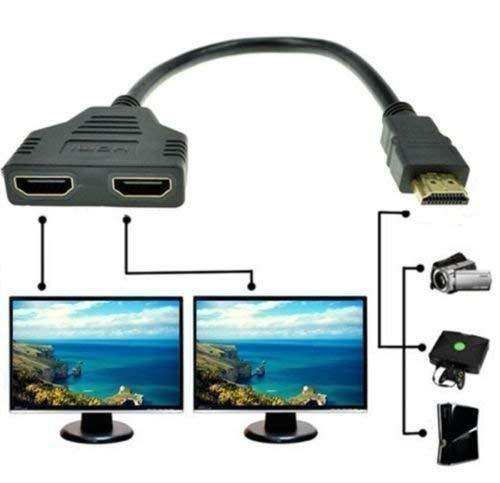 1080p Hdmi Male to Dual Hdmi Female 1 to 2 Way Hdmi Splitter Cable Adapter Converter for DVD Plays/PS3/HDTV, LCD Monitor and Projectors, Signal One in, Two Out