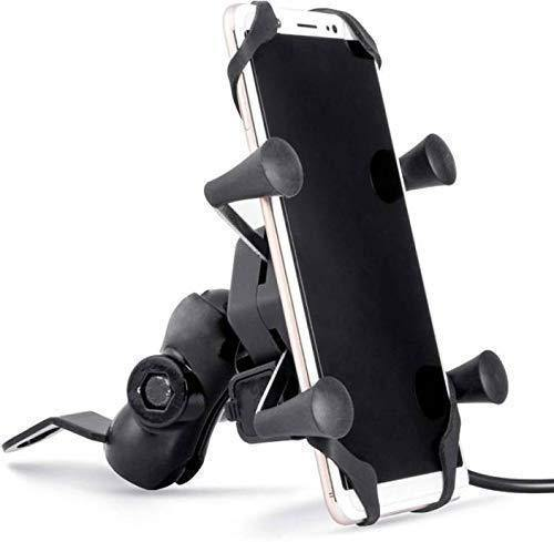 Motorcycle Phone Mount, Universal Bike Cell Phone Spider Bike Multi functional Mobile Holder X Grip Handlebar Mirror Accessories with USB Charger
