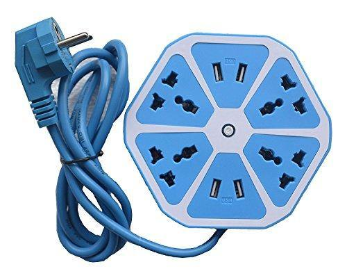 Hexagon Shape Blue Color Socket Extension Board with 4 USB 2.0 Amp Charging Points