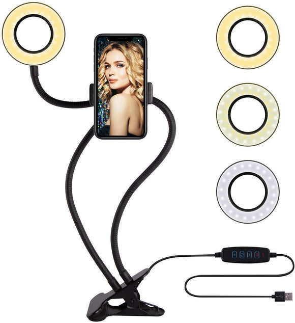 Professional Selfie Ring Light and Cell Phone & Webcam Holder Stand