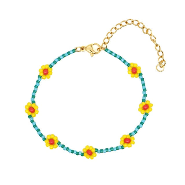 Transparent Beaded Colorful Daisy Flowers Bracelet