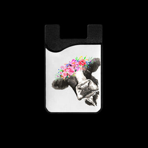 Floral Cow Phone Card Holder