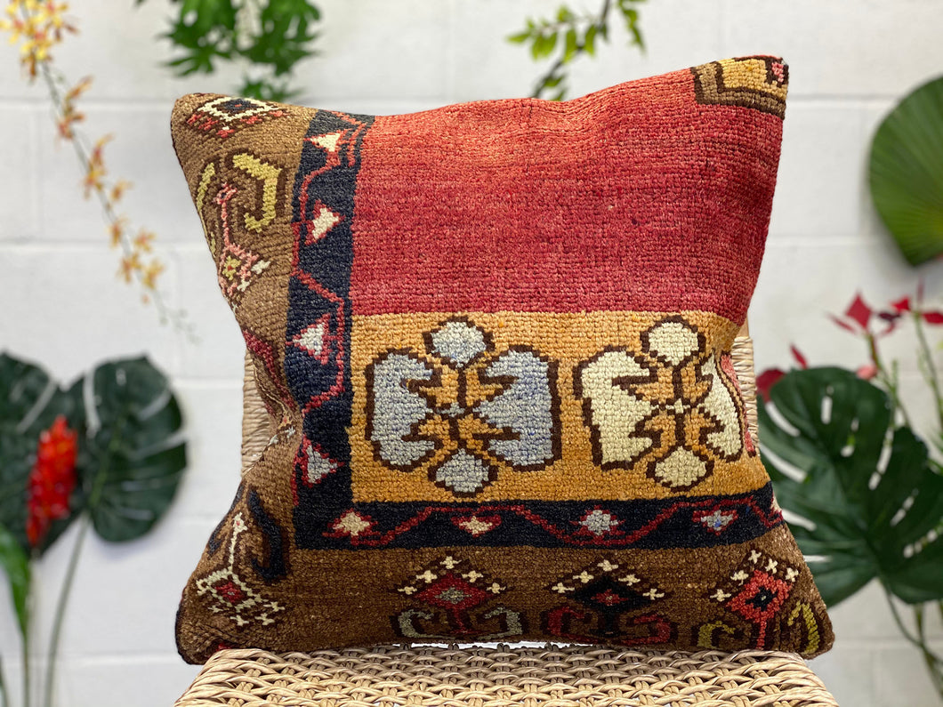 "Vintage Kilim Pillow Cover, 18"" x 18"""
