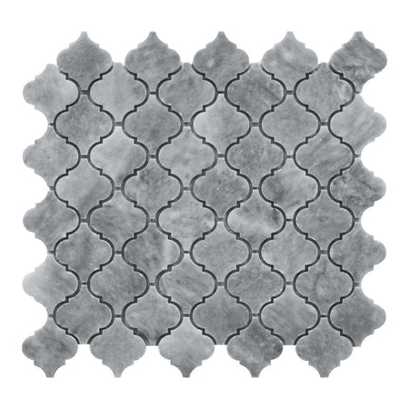 Bardiglio Gray Marble Mini Arabesque Baroque Lantern Mosaic Tile Honed