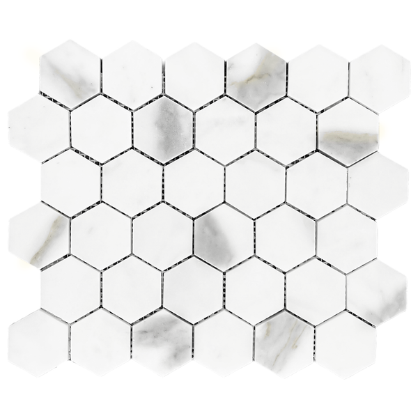 "Calacatta Gold Italian Marble 2"" Hexagon Mosaic Tile Polished"