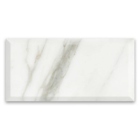 Calacatta Gold Italian Marble 6x12 Wide Bevel Subway Tile Polished