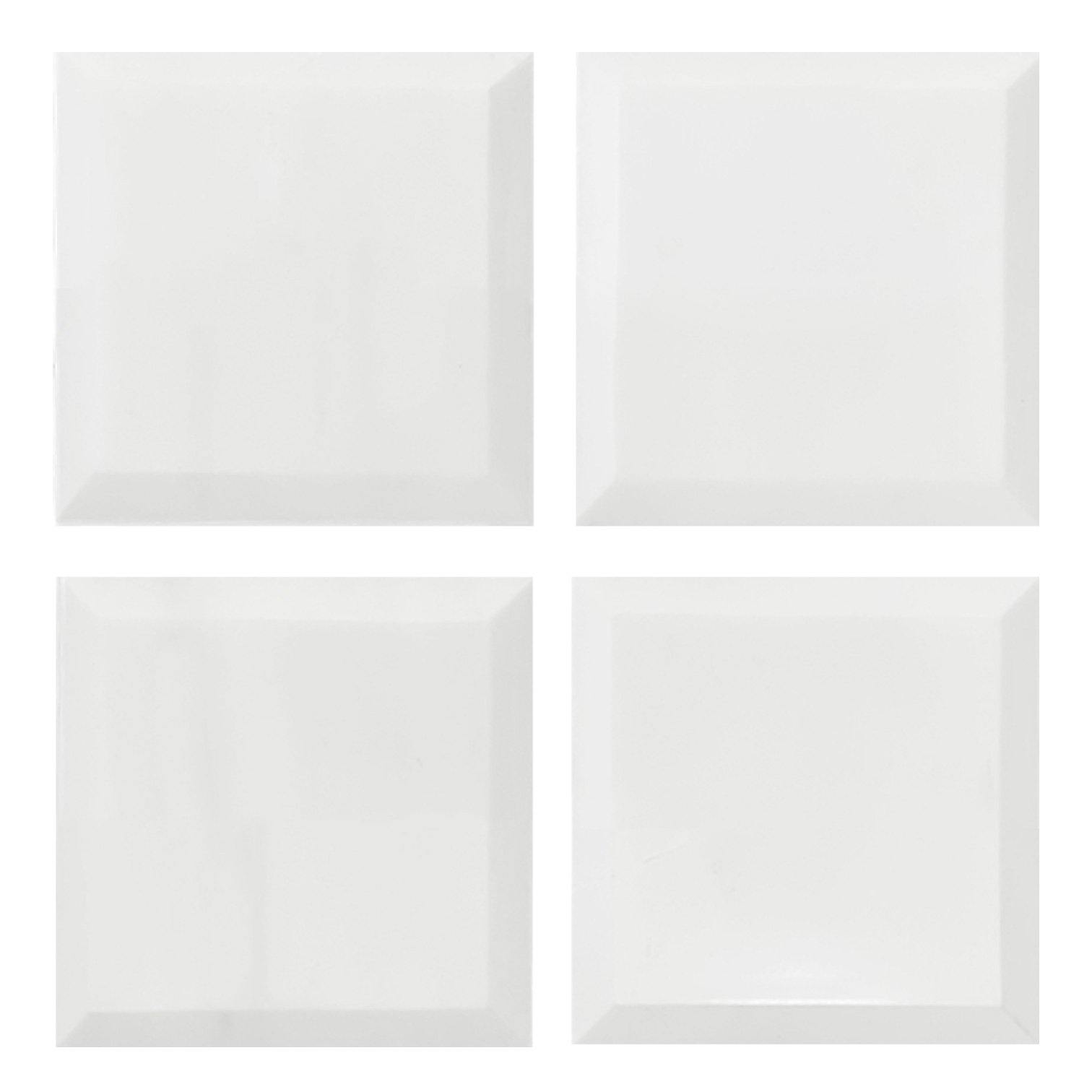 4x4 Bianco Dolomite Marble Wide Bevel Subway Tile Honed