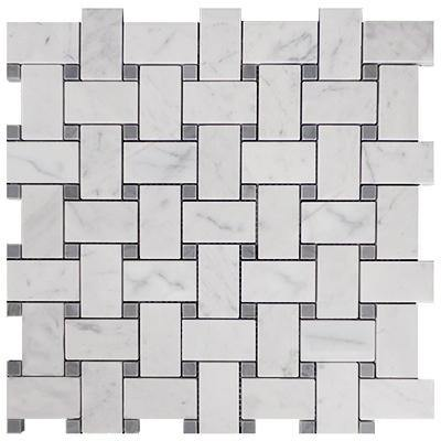 Italian White Carrera Arabescato Marble Bianco Carrara Arabescato Basketweave Mosaic Tile with Bardiglio Gray Dots Polished