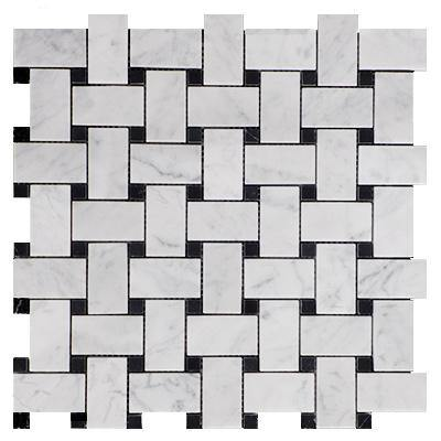 Italian White Carrera Arabescato Marble Bianco Carrara Arabescato Basketweave Mosaic Tile with Nero Marquina Black Dots Honed