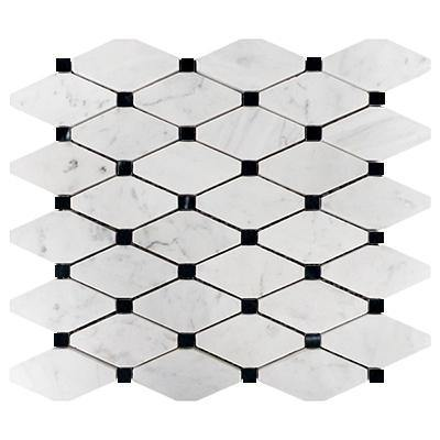 Bianco Carrara Long Octagon with Black Dots Polished