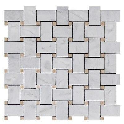 White Bianco Carrara Basketweave Mosaic Tile with Crema Marfil Honed