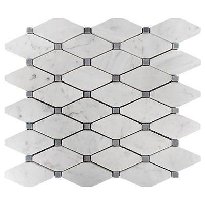 Italian White Carrera Arabescato Marble Bianco Carrara Arabescato Rhomboid Long Octagon Mosaic Tile with Bardiglio Gray Dots Polished