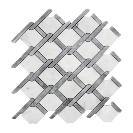 Carrara Marble Rope Design Mosaic Tile Polished