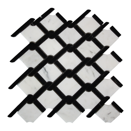 Carrara Arabescato Marble Rope Design with Black Strips Mosaic Tile Polished