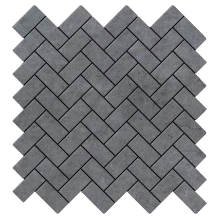 Bardiglio Gray Marble Herringbone Mosaic Tile Polished