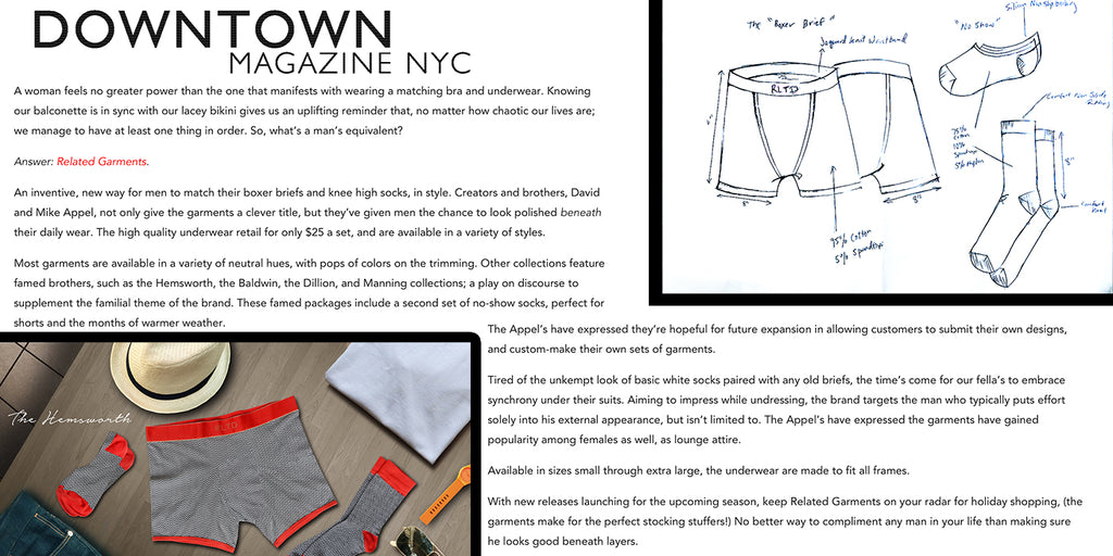 Downtown Magazine synchrony feature of related garments boxer briefs and socks