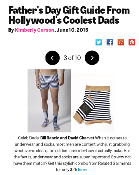 Star Magazine and Related Garments feature for father's day gift guide, boxer briefs, men's underwear.