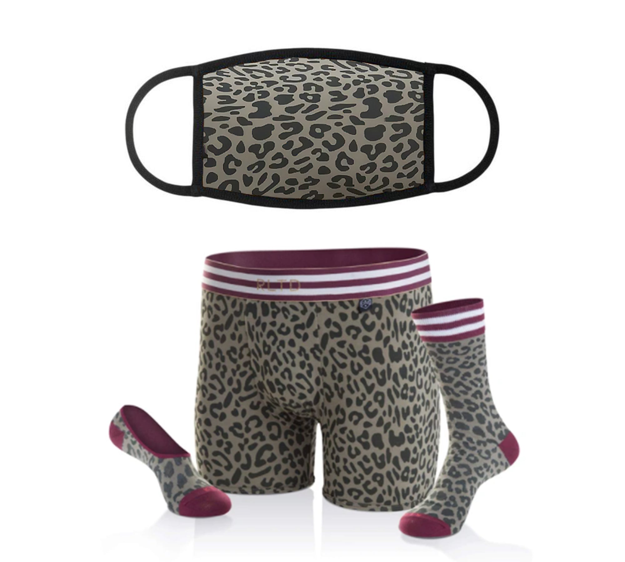 Cheetah Face Cover & Underwear/Sock Bundle - Related Garments