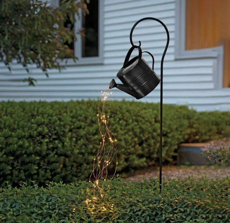 Watering Can with String Fairy Lights Garden Art Stake Decoration/ Waterproof Outdoor Yard Patio Pathway Landscape Courtyard Lights
