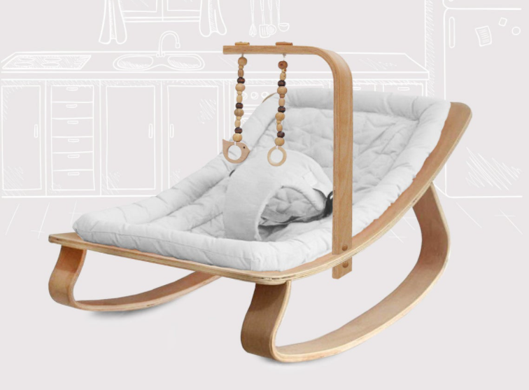 Handmade Natural Wood Baby Rocking Chair With GYM , Handmade Baby Cradle, Wooden Baby Swing, Baby Bouncer, Swinging Chair For Baby, Bouncer