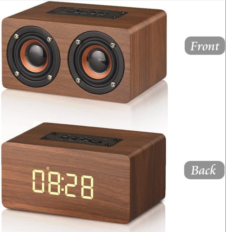 Wooden electronic Digital alarm clock with LED display, Sound control, Bluetooth speaker, radio, mic,Chargeable,Wood like Digital Clock