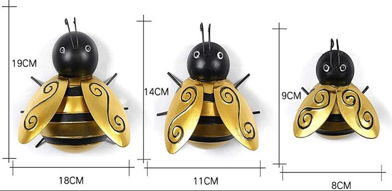 Metal Bumble Bee Decoration,For Garden Accent Yard Fence 3D bumble bee Sculpture Ornaments, Wall Hanging Bumblebee Art Decoration 4 PCS