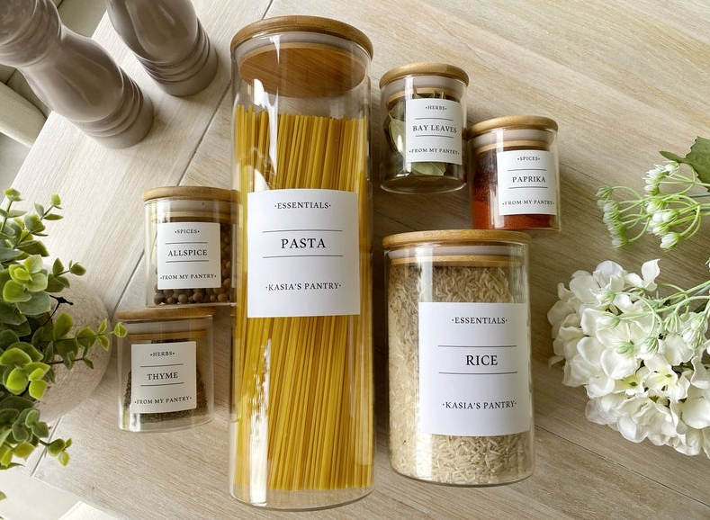 Minimalist Bespoke Labels | Pantry Food Kitchen Organisation | Kitchen Jars and Canisters |Spices Herbs Baking | Water & Oil Resistant