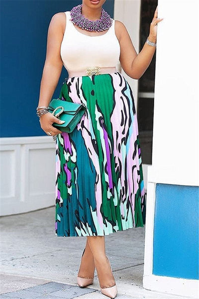 Casual Printed Pleated Skirt