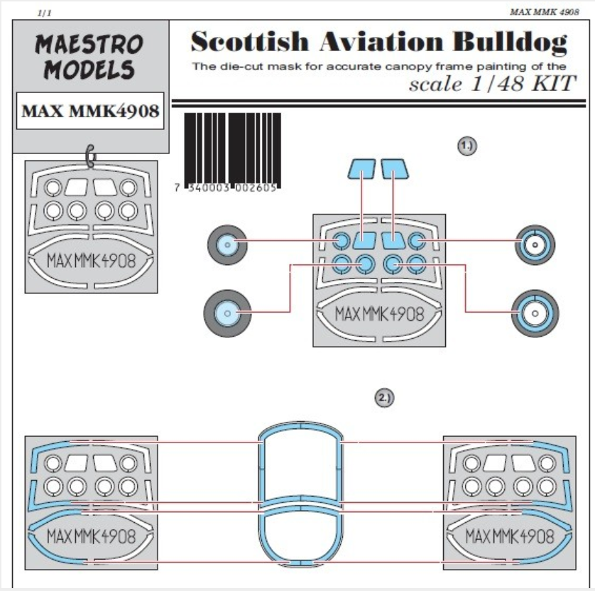 Scottish Aviation Bulldog T.1 Canopy & Wheel Masking Set